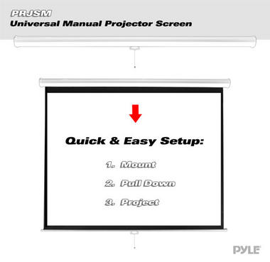 "PRJSM7206 Universal 72"" Roll & Pull Down Manual Projection Porjector Screen Thumbnail 2"