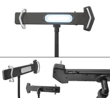 Pyle PSPAD15 Desk Clamp Tablet Holder iPads Kindle Android Nexus Galaxy USB Port Thumbnail 3