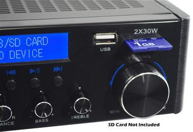 Pyle PVA3U 60W Stereo Hi-Fi Mini iPod Amplifier USB SD MP3 Player Receiver Thumbnail 4