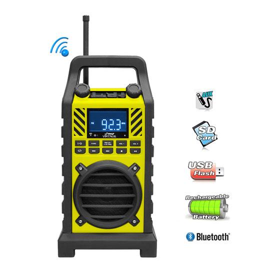 Pyle PWPBT250YL Bluetooth Speaker Thick Rubber Casing FM/USB/SD AUX Thumbnail 2