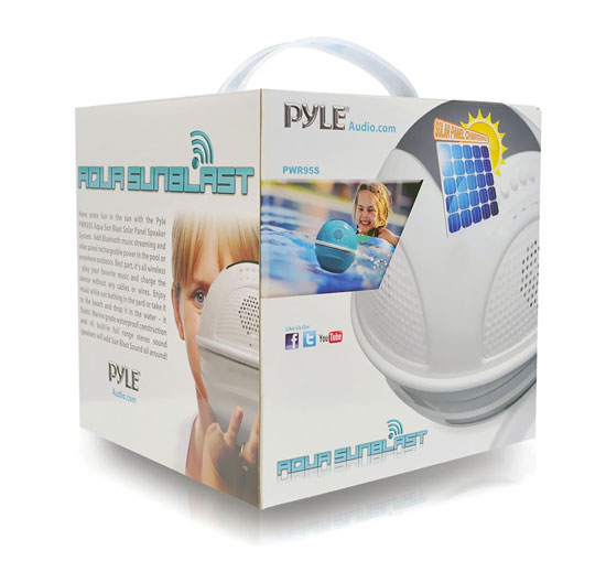 Pyle PWR95SBK Floating Bluetooth Waterproof Pool Speaker System SD AUX Solar Charge Thumbnail 7