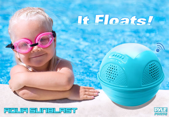 Pyle PWR95SBK Floating Bluetooth Waterproof Pool Speaker System SD AUX Solar Charge Thumbnail 2