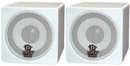Pyle-Home PCB3WT 3'' 100 Watt White Mini Cube Bookshelf Speaker In White (Pair)