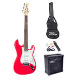 Pyle PEGKT15R Beginner Practise Electric Guitar Package Kit Strap Bag Tuner