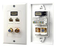 Pyle PHDM2RJRF1 HDMI Mono RCA Home Audio Coaxial Dual Ethernet Combo Wall Plate
