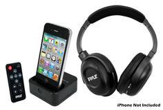 Pyle-Home PIH30R Wireless Stereo Headphone W/Iphone Dock