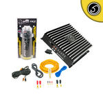 Bass Face 1500w Mono-Block Sub Amplifier Amp | Power Cap | Wiring Kit Package