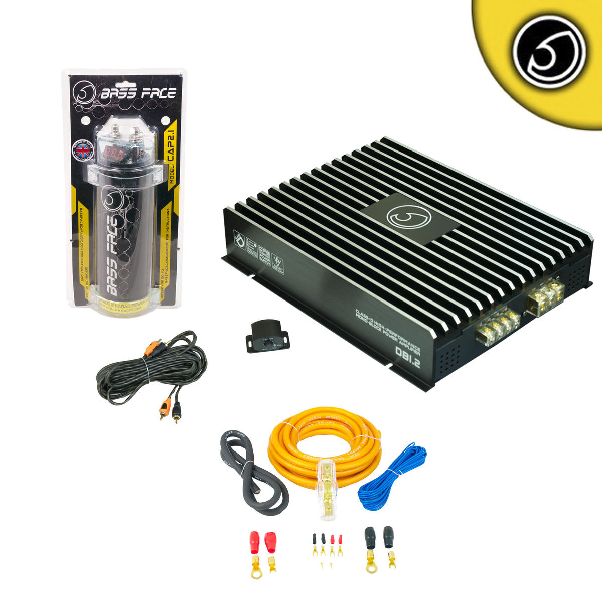 Bassface DB1.2 DB1.2 2000w Car Audio Amp Amplifier 2 Farad Power Cap Wiring Kit