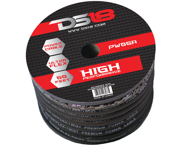DS18 PW-0GA-50BK 50 ft Foot Power Ground Cable