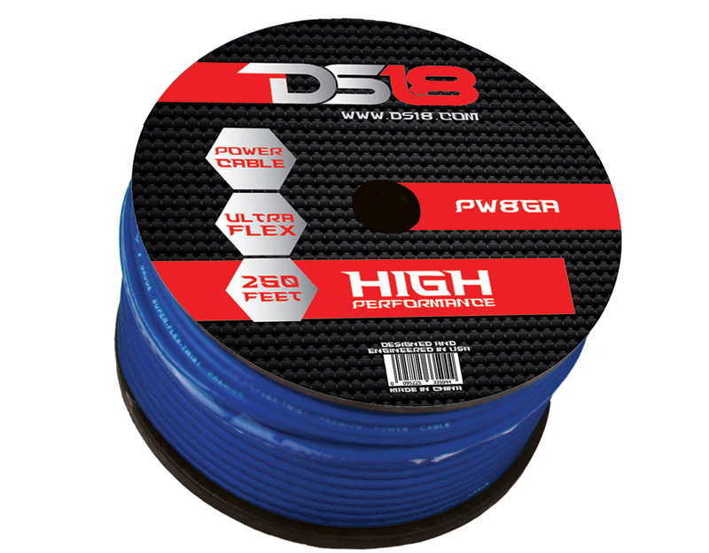 DS18 PW-8GA-250BL 250 ft Foot Power Ground Cable