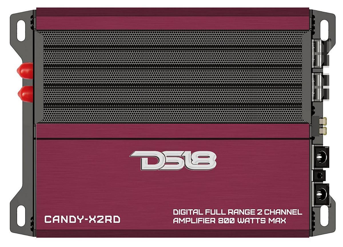 DS18 CANDY-X2RD Car Red 800 Watt Full Range 2 Channel Class D Amplifier Single
