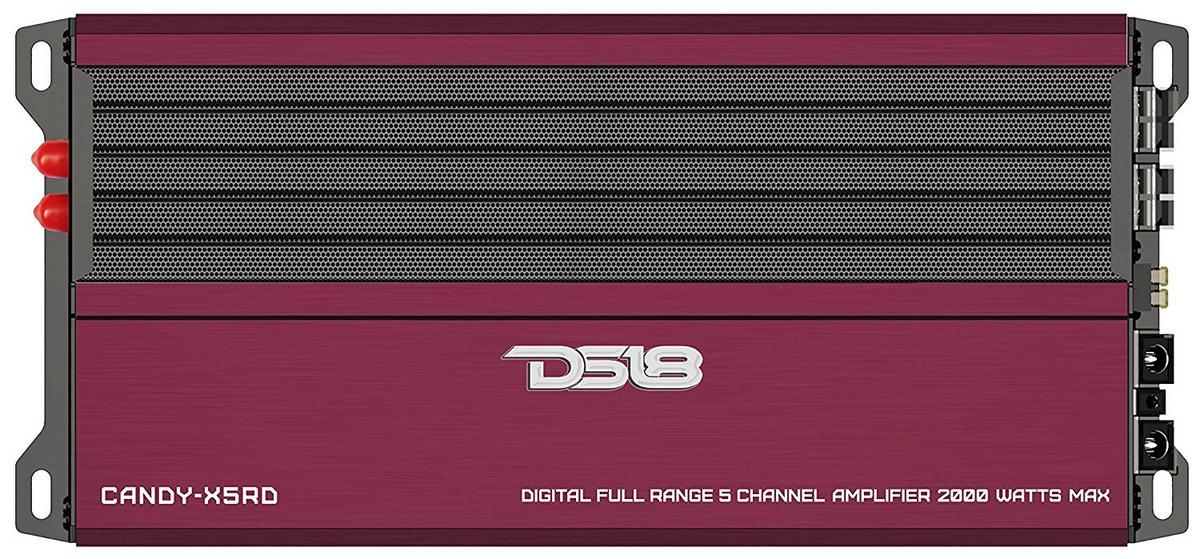 DS18 CANDY-X5RD Car Audio Red 2000 Watt 5 Channel Class D Amplifier Single