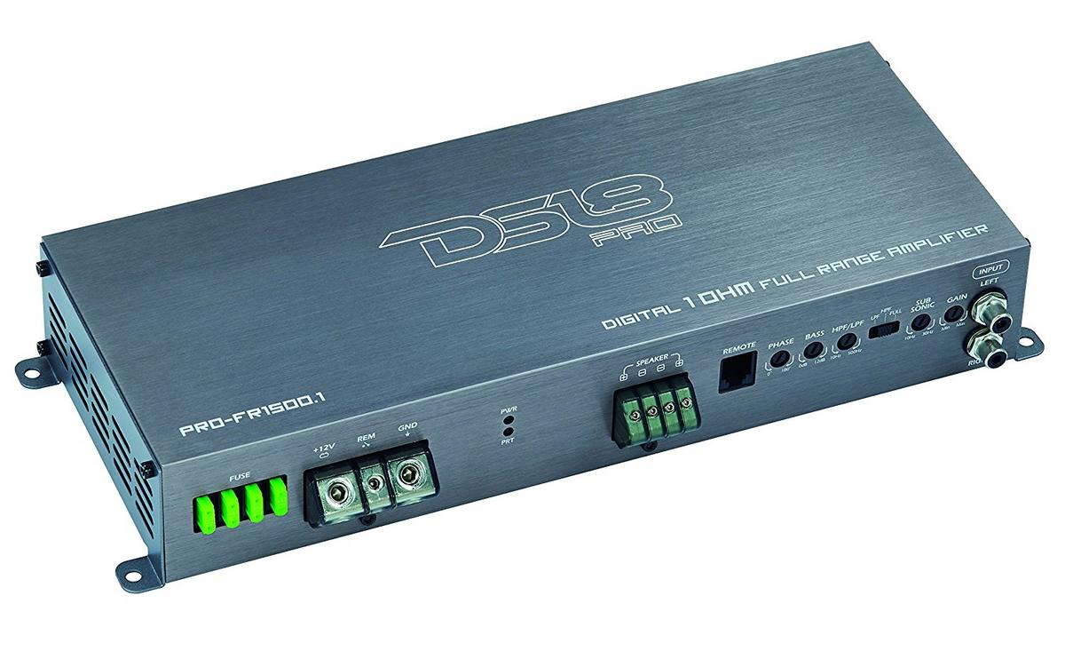 DS18 PRO-FR1500.1 Car Audio 1500 Watt Full Range Class D Monoblock Amplifier Single