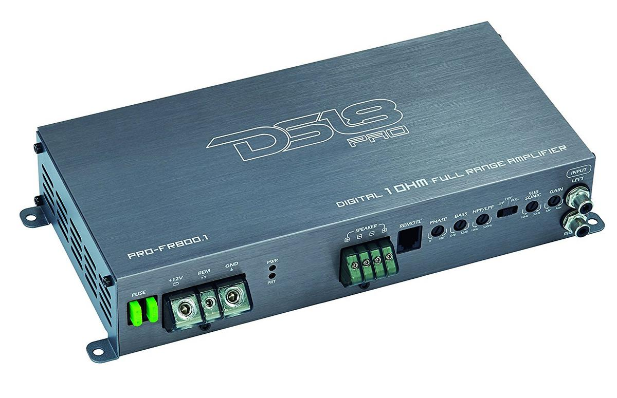 DS18 PRO-FR800.1 Car Audio 800 Watt Full Range Class D Monoblock Amplifier Single
