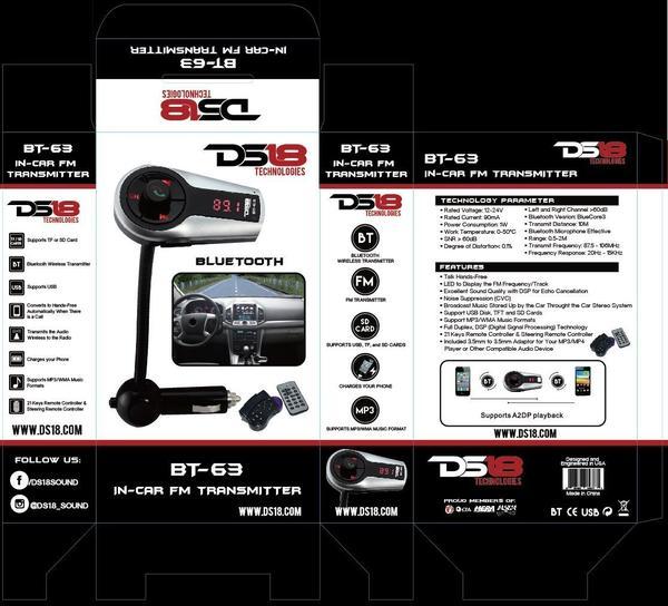 DS18 BT-63 12 Volt FM Bluetooth Hands Free Transmitter Thumbnail 2