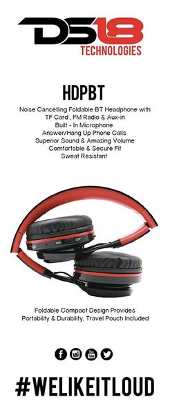 DS18 HDPBT Foldable Bluetooth Headphones with built in TF Card Input Single Thumbnail 5