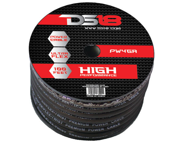 DS18 PW-4GA-100BK 100 ft Foot Power Ground Cable Thumbnail 1