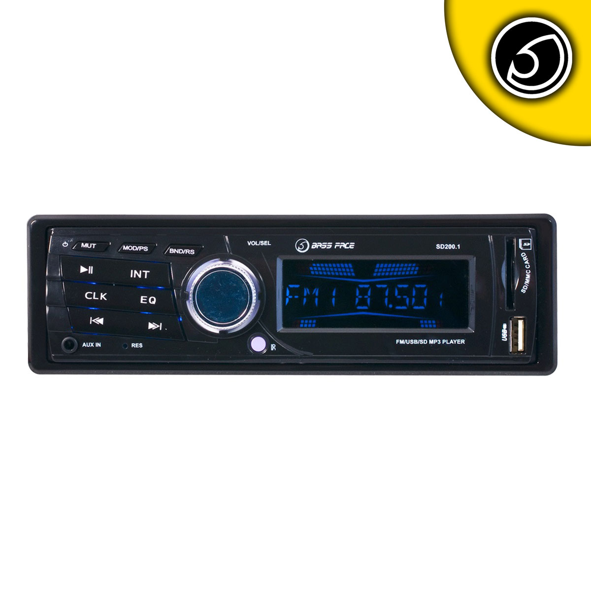 Bassface SD200.1 240w 12v Single DIN Head Unit With MP3 AUX USB SD & Radio