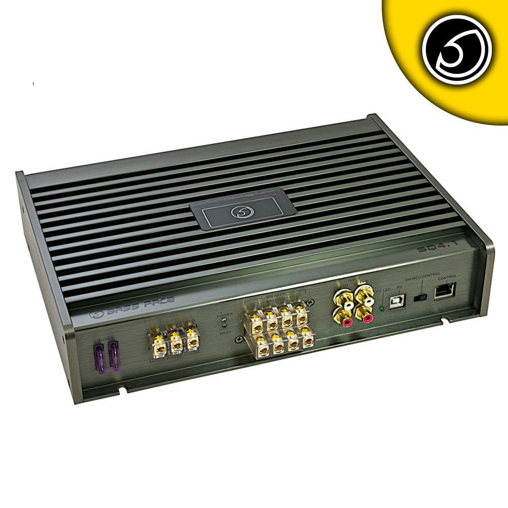 Bassface SQ4.1 2000w Class A/B 4/3/2 Channel Bridgeable Stereo 12v Power Amplifier With DSP & PC Software Control