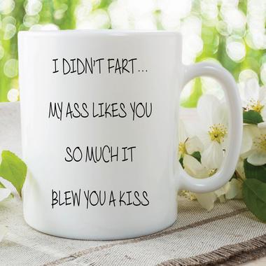 Fart Mug Blew You A Kiss Funny Cup Novelty Gifts Boyfriend Valentines WSDMUG600 Thumbnail 1