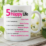 5 Simple Rules Happy Life Quote Mugs Printed Ceramic Cups Work Office WSDMUG518