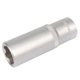 "Draper 09850 15mm 3/8"" Square Drive Hi-Torq Satin Chrome 6 Point Deep Socket"