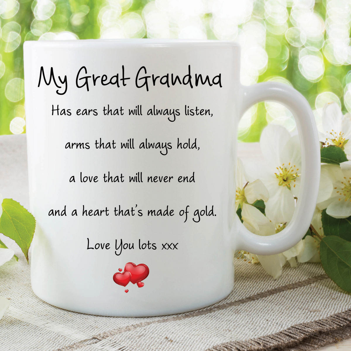 Great Grandma Mug Love You Lots Heart Of Gold Birthday Gift Christmas WSDMUG587