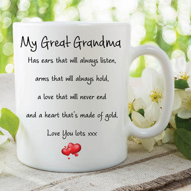Great Grandma Mug Love You Lots Heart Of Gold Birthday Gift Christmas WSDMUG587 Thumbnail 1