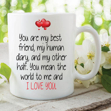 Funny Novelty Mugs I Love You Best Friend Girlfriend Boyfriend Cups WSDMUG625 Thumbnail 1