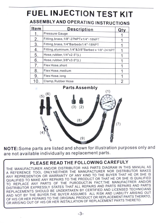 449855 Fuel Injection Pump Pressure Gauge Tester Gasoline