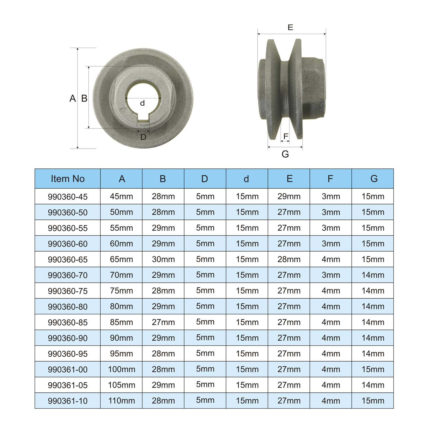 990360 aluminum motor belt wheel pulley single groove