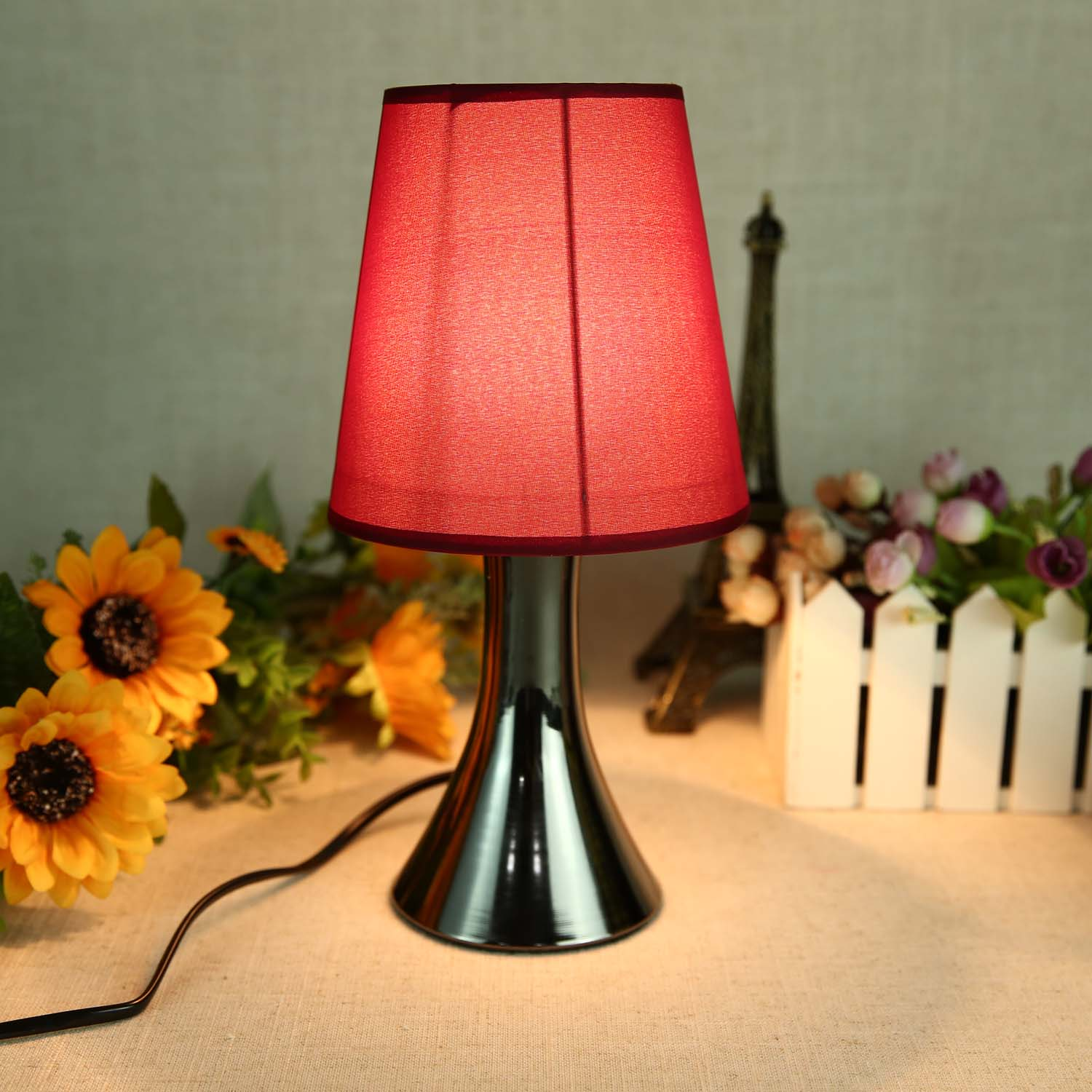 77387311 black chrome red touch dimmer bedside table lights lamps bedroom 40w ebay - Bedside lamps with dimmer ...