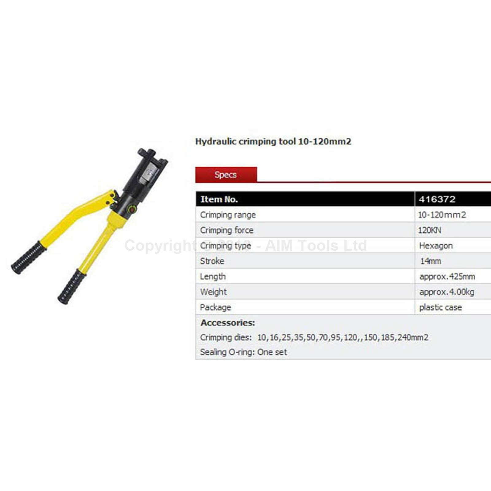416372 manual hydraulic electric cable wire terminal crimping tool die 10 120mm ebay. Black Bedroom Furniture Sets. Home Design Ideas