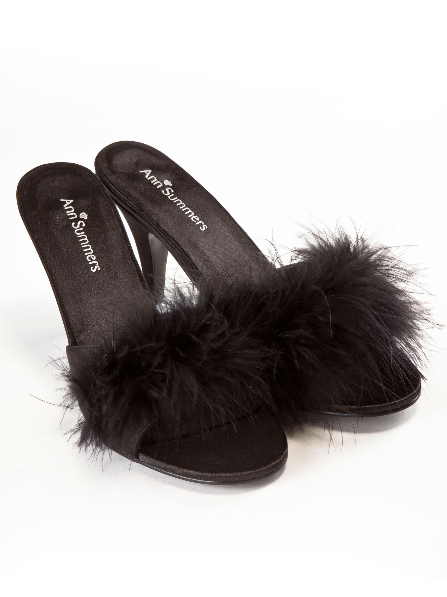 ann summers womens black marabou mules sexy bedroom slippers lingerie accessory ebay