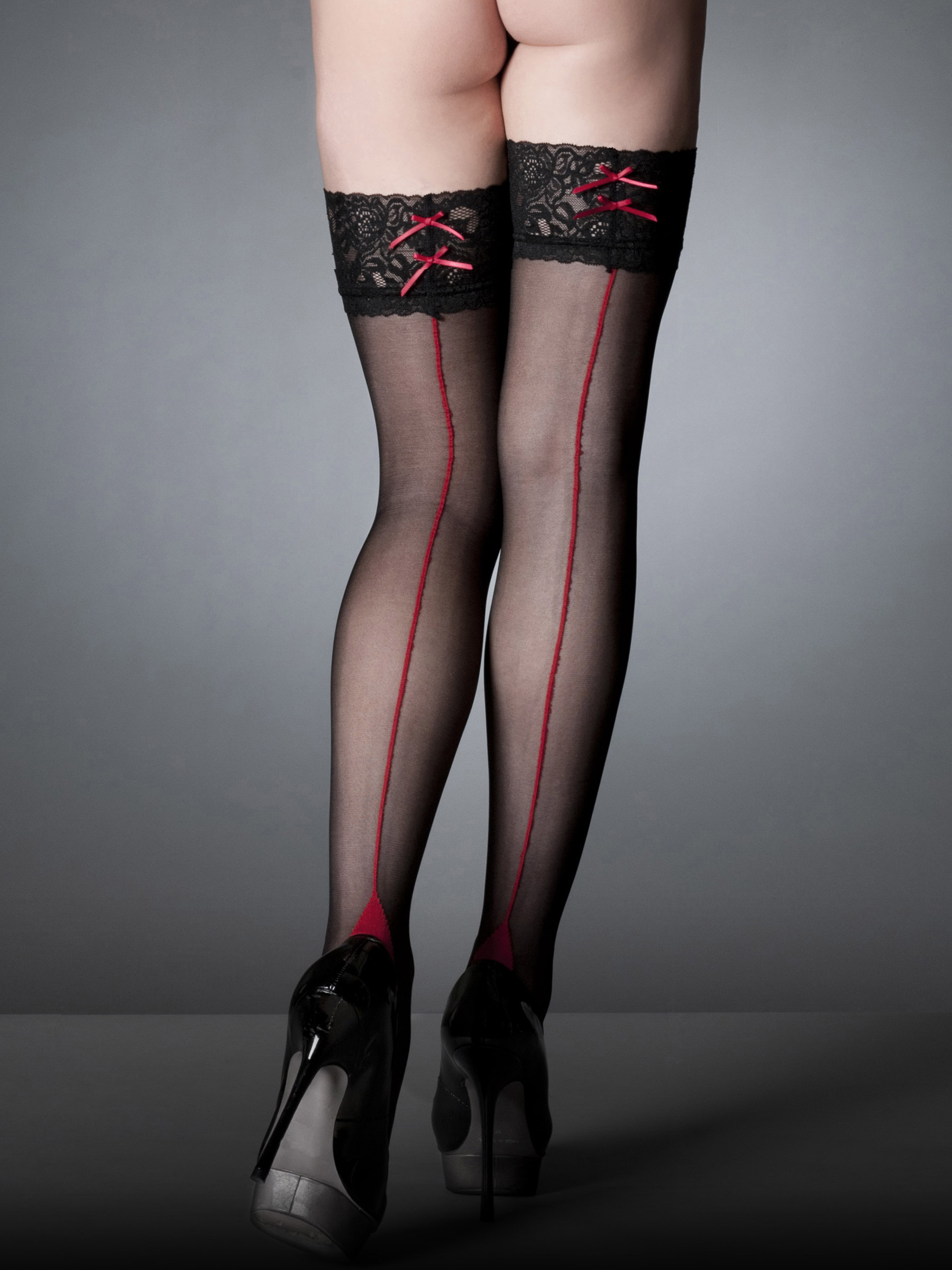 Ann Summers Womens Lace Top Seamed Hold Ups Black Red Sexy Stockings ...