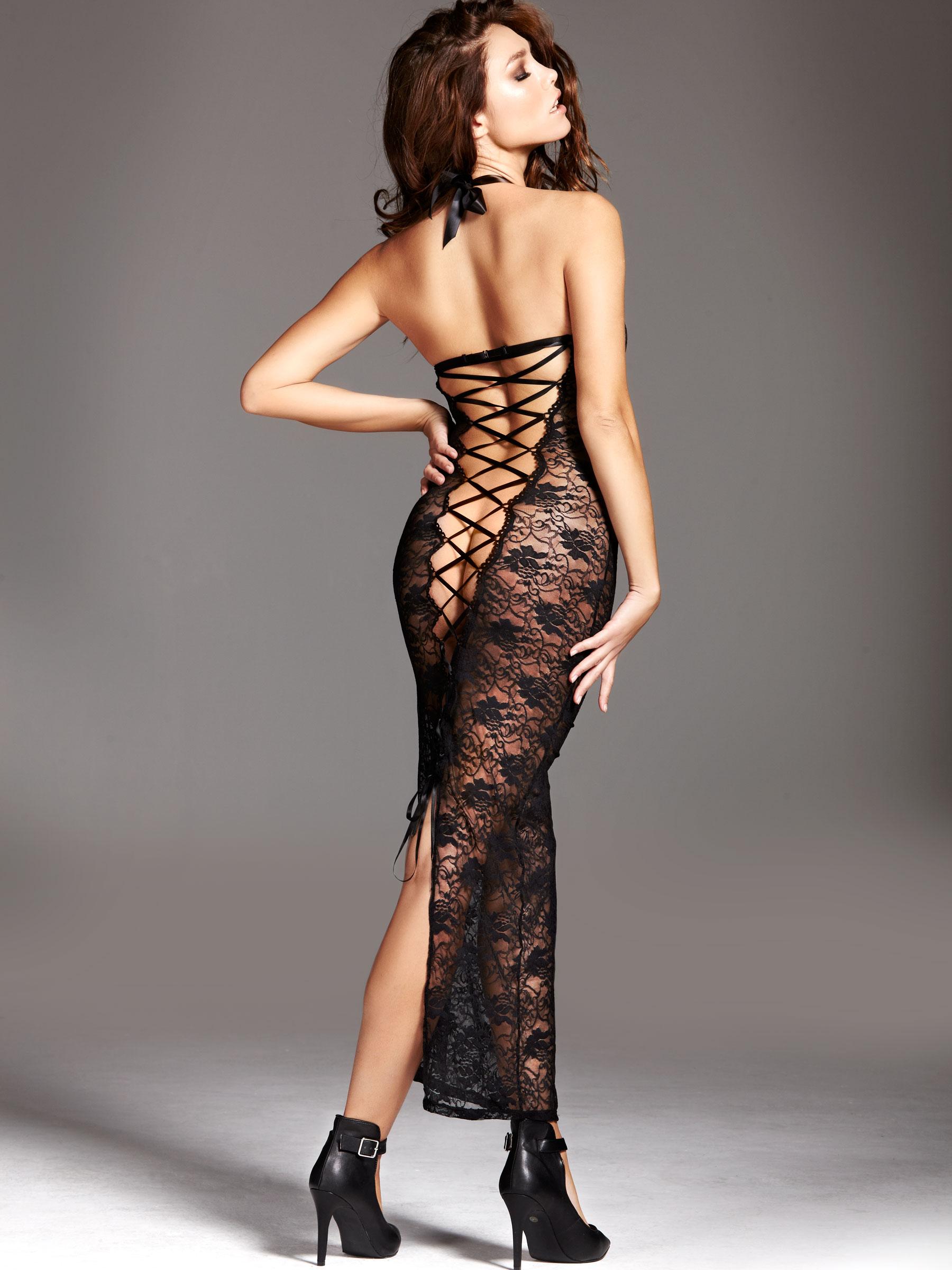Details about Ann Summers Womens Amira Long Lace Dress Black Ladies ...
