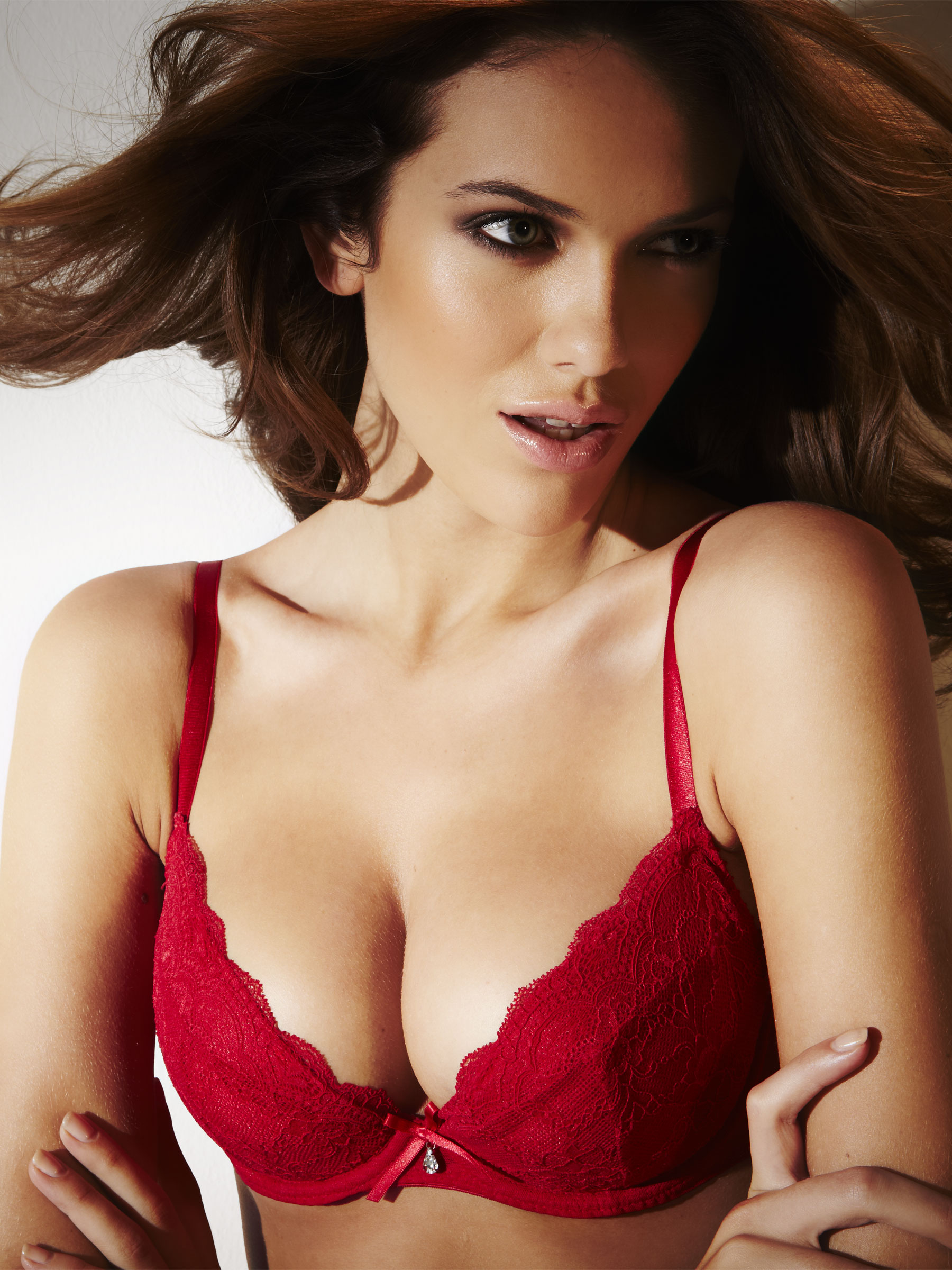 Ann Summers Womens Pure Lace Padded Plunge Bra Red Sexy Underwear ...