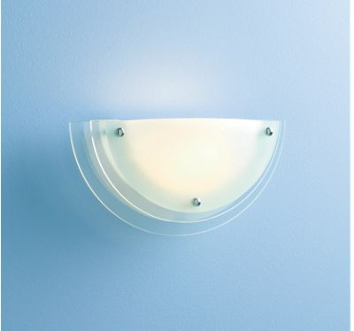 Half Circle Wall Lights : Wall Light - Reno Half Circle/Moon Uplight - Frosted Clear Glass - 32cm eBay
