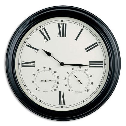 about clearance wall clock with humidity and temperature black