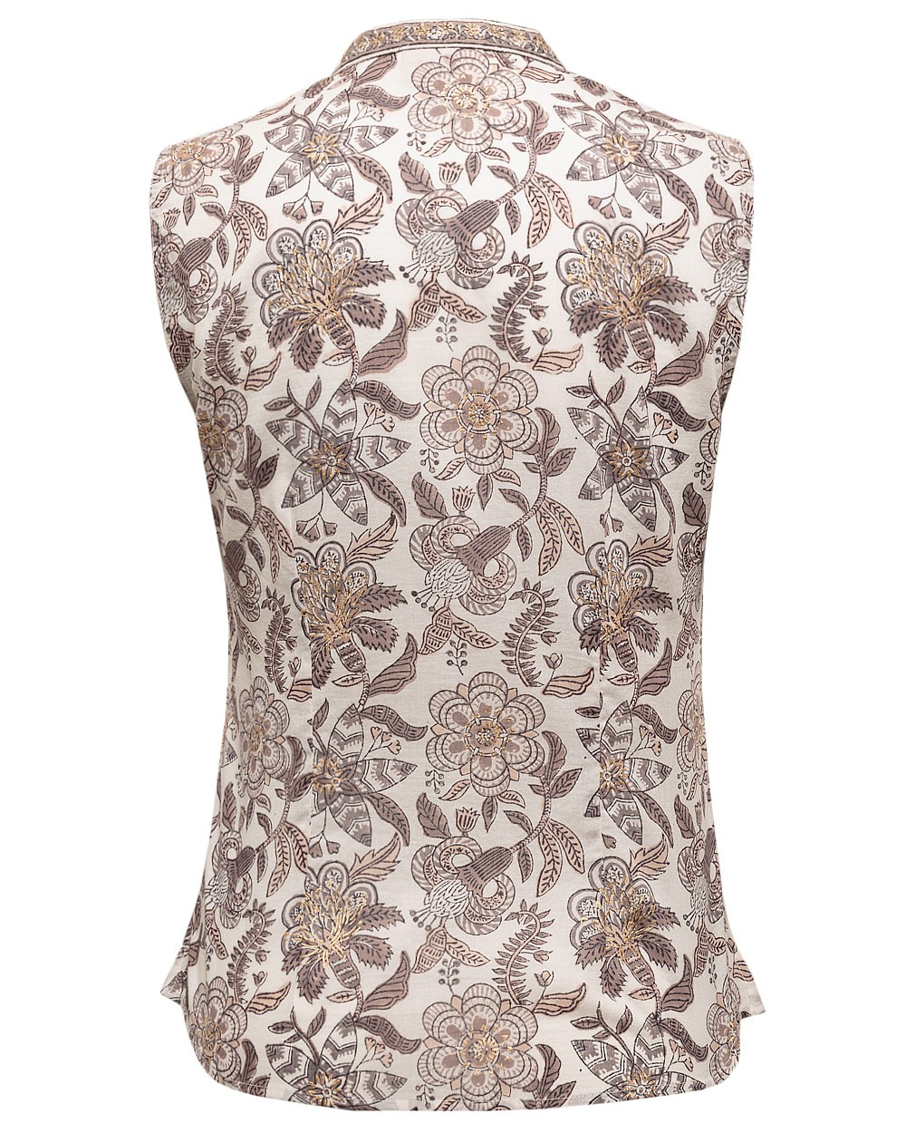 New East Womens Casual Sleveless Shirt Cotton Nehru Collar Deep V-Neckline White