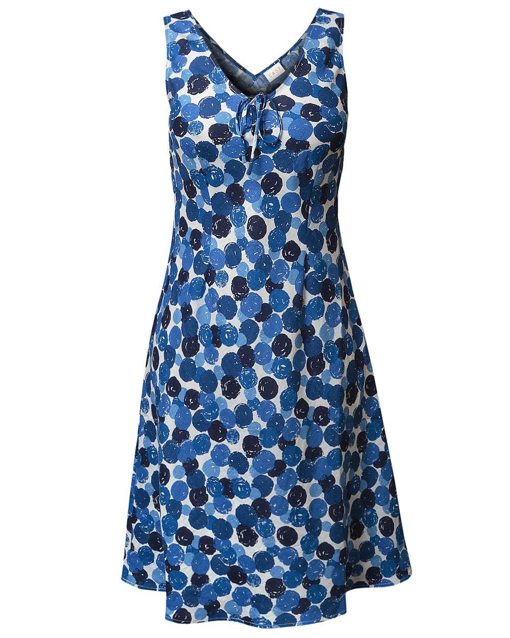 New East Casual Painted Spot Sundress V-Neck Knee Length w/Tie Waist Linen Blue