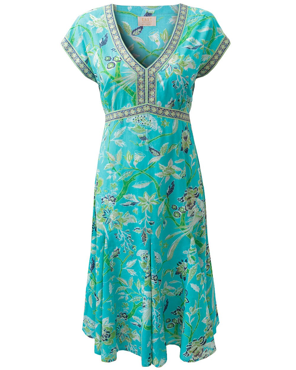 EAST ANOKHI PARADISE TURQUOISE DRESS MADE FROM 100% COTTON SIZES 8-20