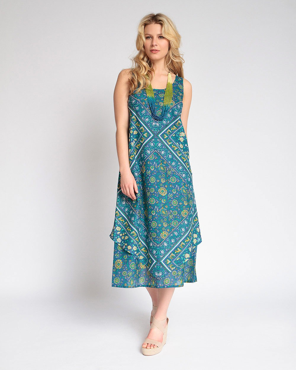 New East Amisha Print Dress Sleeveless w/Scoop Neck Handkerchief Hem Cotton Blue