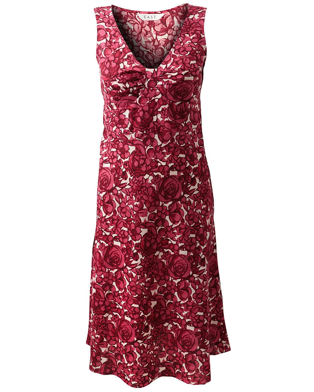 EAST-AVRIL-PRINTED-LINEN-DRESS-V-NECKLINE-PINK-100-LINEN-SIZES-8-20