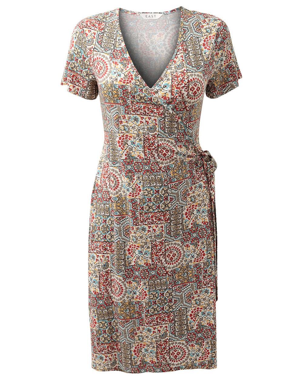 East Womens Casual Soraya Wrap Jersey Dress Tie Front Full Length Short Sleeve