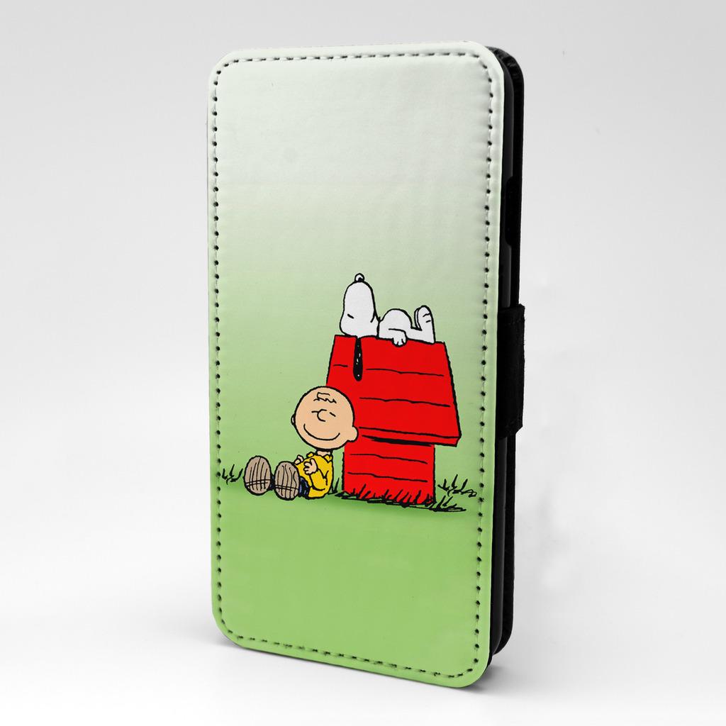 Snoopy-Charlie-Marron-Funda-libro-para-telefono-movil-t835