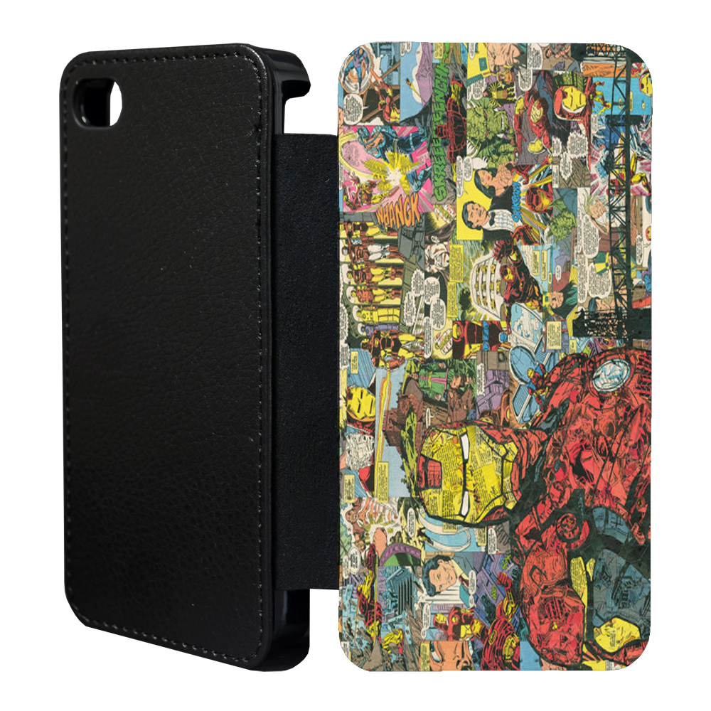 dc marvel comic book flip case cover for apple iphone 4 4s 5 5s 6 plus 11 ebay. Black Bedroom Furniture Sets. Home Design Ideas