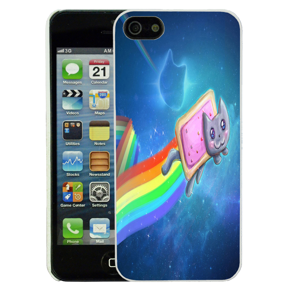 For Apple iPhone 5 & 5S Fun Funny Nyan Cat Case Cover ...