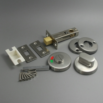 Satin & Chrome Bathroom Thumb Turn Release & 70mm Deadbolt ...
