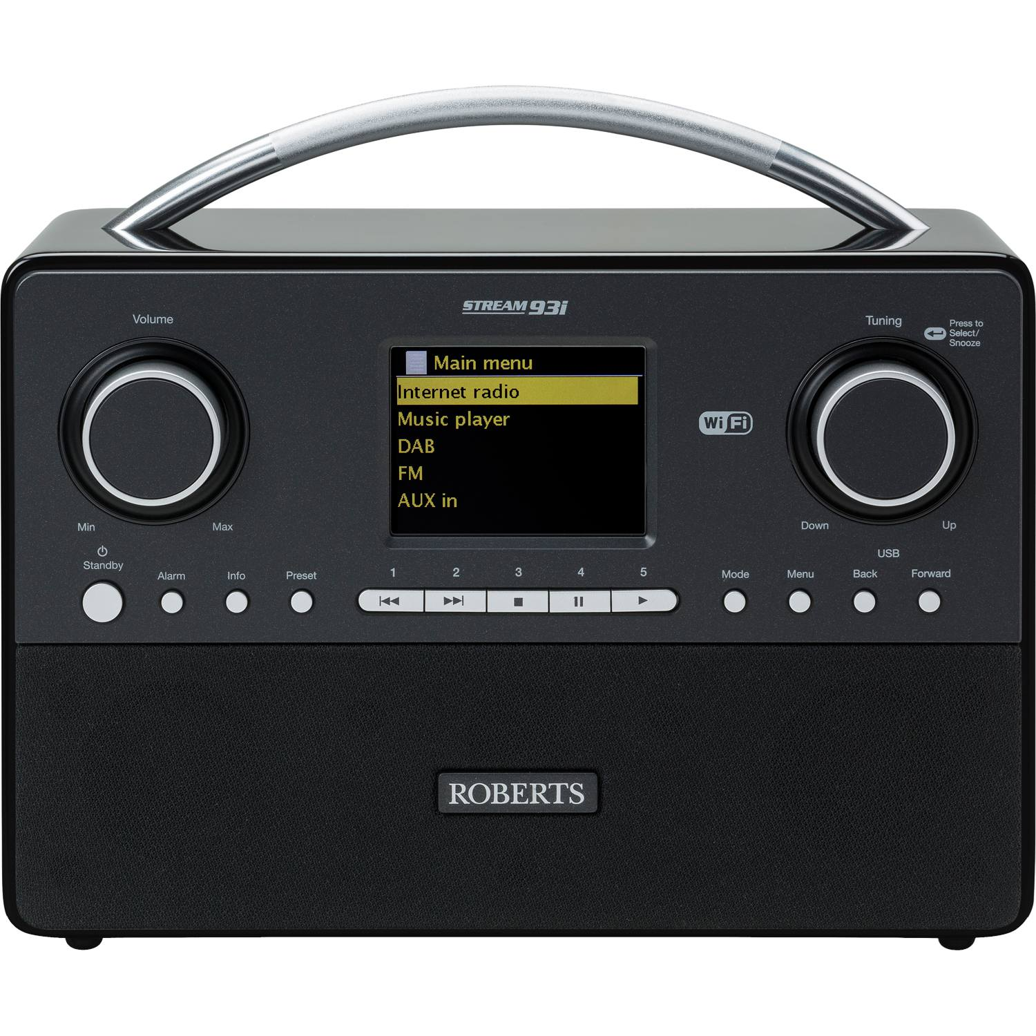 roberts stream 93i portable dab fm internet radio with wifi alarm usb black 5038301303211 ebay. Black Bedroom Furniture Sets. Home Design Ideas